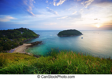 Sunset over Promthep cape and Yanui beach Phuket, Thailand