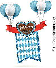 Oktoberfest Gingerbread Heart Ribbon Flag Balloons - Heart...