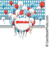 Oktoberfest Banner Prongs Emblem Balloons Flyer -...