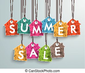 Colored Price Sticker Houses Summer Sale - White house price...