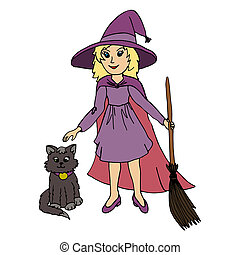 Little girl wearing witch Halloween costume and black cat -...