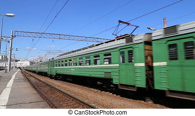 Train on Moscow passenger platform (Kursky railway...