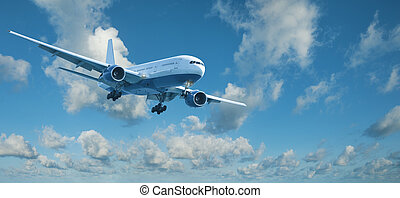 Jet plane in a blue cloudy sky is maneuvering for landing...