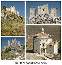 Santa Maria della Pieta and Rocca Calascio in Abruzzo, Italy