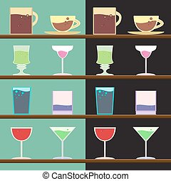 Vector set of goblets, cups, glass with drink on bar...