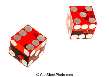 Red dices - two red transparent acrylic dices isolated over...