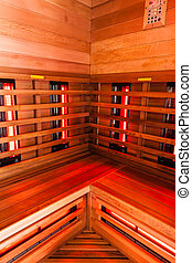 Sauna interior - the interior of a small wooden infrarered...