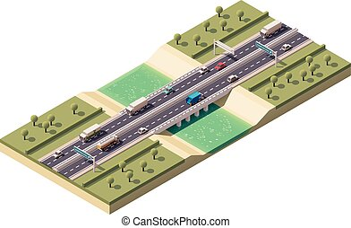 Vector isometric bridge - Isometric bridge over the river