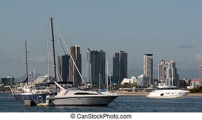 Boats mooring Gold Coast Australia - Sail boats mooring at...