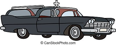 Old funeral car - Hand drawing of a classic funeral car -...