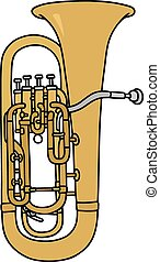 Bombardone - Hand drawing of a classic big trumpet