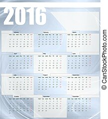 Calendar 2016, week starts on Monday, vector illustration