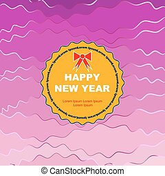Curly HNY with circle - Wavy round symbol of new year on...