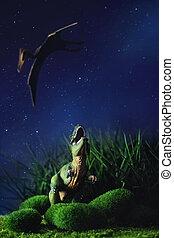 Tyrannosaurus, lucha, con, Un, prehistórico, vuelo,...