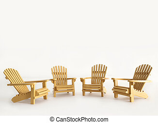 Four miniature adirondack chairs on white background
