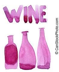 Wine bottles and word Wine painted in real red wine