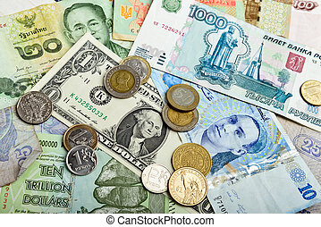 foreign currency - Collection of various money to background