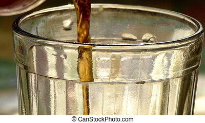 Tea (tea leaves and boiling water) is poured into a glass beaker