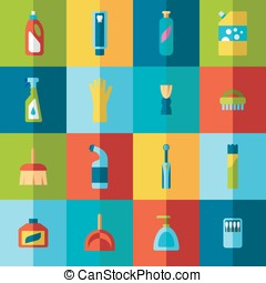 Household chemicals and cleaning supplies bottles vector...