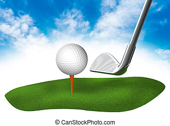 Land with golf in the sky - Piece of land in the sky with...