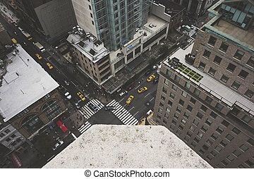 New York City Street - NEW YORK CITY - August 22: A bustling...