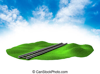 Land with rail in the sky - Piece of land in the sky with...