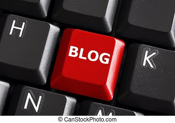 red blog button - red internet blog concept with button on...