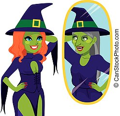 Pretty Ugly Witch Mirror Reflection - Pretty and ugly evil...