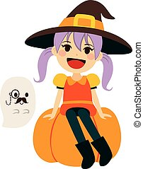 Orange Witch and Gentleman Ghost - Cute little girl wearing...
