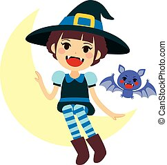 Vampire Witch and Vamp Mascot - Cute little girl sitting on...