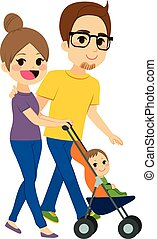 Couple Pushing Stroller