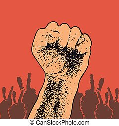 Vector Illustration Concept in Soviet Union Agitation Style. Fist of revolution. Human hand up. Red background. Design element.