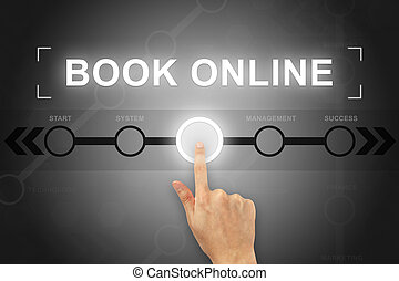 hand clicking book online button on a screen interface -...