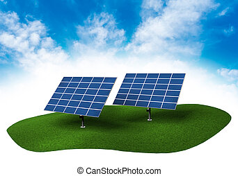 Land with solar panels in the sky - Piece of land in the sky...