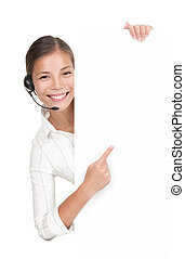 Headset woman from call center standing with billboard....