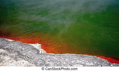 champagne pool in Wai-O-Tapu - Clip of the champagne pool in...