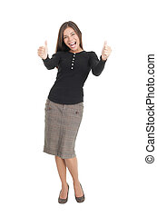 Happy businesswoman isolated giving thumbs up - Happy...