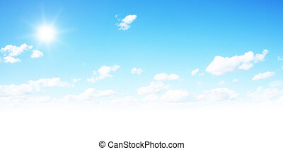 Blue sky - Beautiful blue sky with fluffy clouds and sun