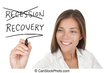 Recession and recovery economic concept