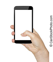 Hand with mobile phone - Woman holding modern mobile phone...