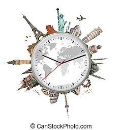 illustration of a clock with famous monuments - Famous...