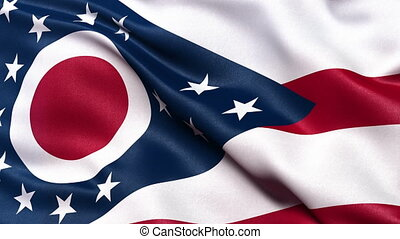 Ohio state flag seamless loop - Realistic Ohio state flag...