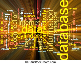Database word cloud glowing - Word cloud concept...