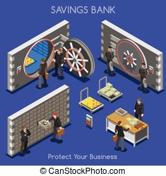 Bank Office 01 People Isometric - Bank Vault Building Floor...