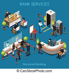Bank Office 02 People Isometric - Bank Office Building Floor...