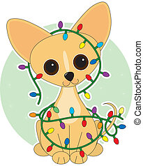 Chihuahua Lights - Chihuahua dressed for Christmas with...