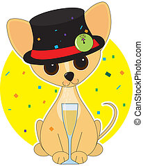 Chihuahua New Year - Chihuahua dressed for New Years with a...