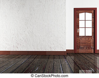wooden door in the room