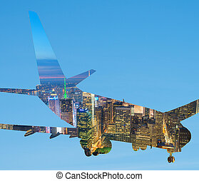 Silhouette of airplane with New York skyline