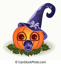 Cute halloween baby pumpkin, vector illustration
